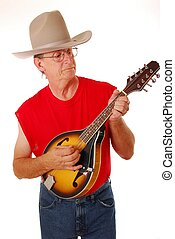 Country Musician 14 - Senior rocking on an acoustic mandolin