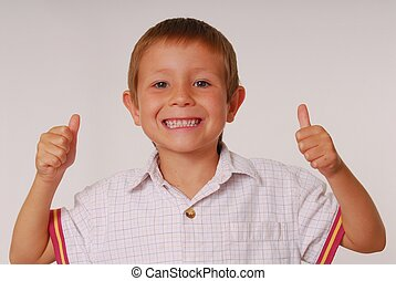 Expressive kid 10 - Young boy with thumbs up