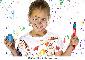Artistic Endeavour - Beautiful 6 year old girl covered in...