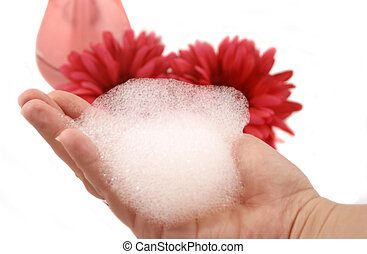 foam hand - handful of soap suds