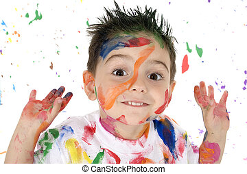 Born Artist - Adorable 3 year old boy covered in bright...