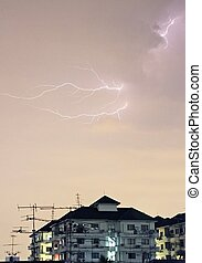 Lightning storm 2 - Lightning over some apartments in SE...