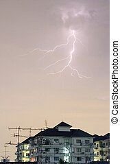 Lightning storm 1 - Lightning over some apartments in SE...