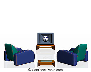 Soccer season. - Watching the soccer game on television....