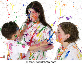 Family Fun - Little brother painting big sisters Ages 4, 13,...