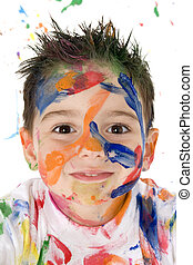 Beautiful Mess - Beautiful toddler boy covered in bright...