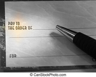 caneta, cheque, em branco