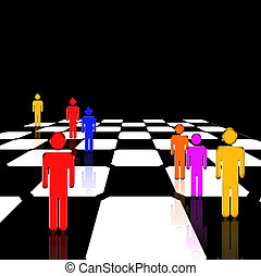 Game - Figures stand on a glossy chessboard