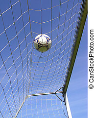 soccer net with ball - Perspective shot of soccer net with...