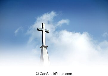 The Cross - Christian cross in clouds and against blue sky