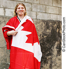 Happy Canada Day - Man wrapped in a Canada flag