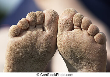 sand on the foots - Summer time