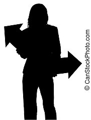 Silhouette With Clipping Path of Woman with Arrows -...