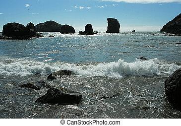 Oregon coast - rock silhouettes; Oregon coast, Brookings