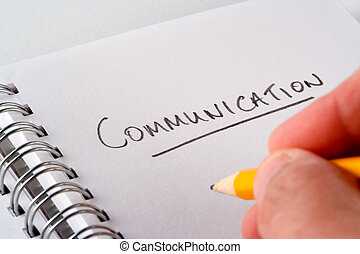 """Communications - Writing the word \""""communication\"""" on a..."""