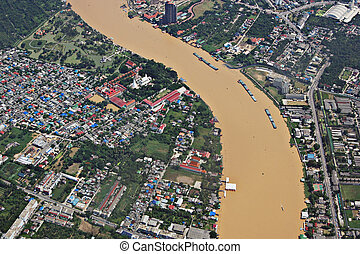 Chao Phraya river - Aerial view of Chao Phraya river in...