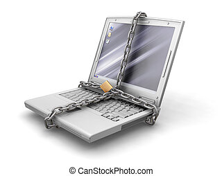 Computer security - 3D render of a generic laptop with...