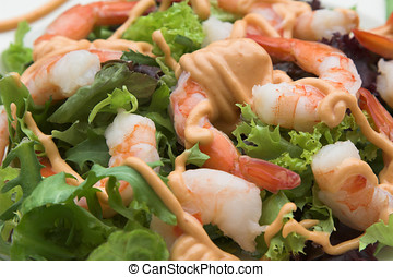 Shrimp salad - Closeup of a shrimp salad