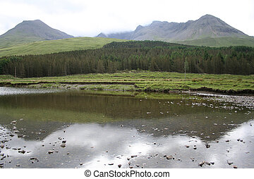 cuillins reflected in a stream, Isle of Skye, Scotland
