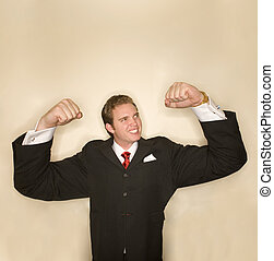 Business power pose 3 - Business man in black suit, red tie,...