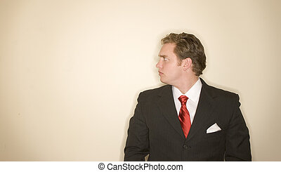 Business man 3 - Business man in black suit, red tie, and...