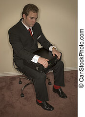 Passionless Business man - Business man in black suit, red...