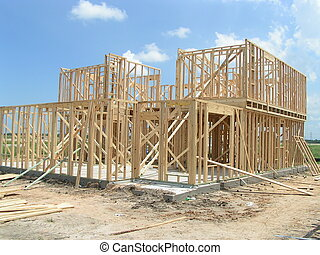 New Home Framing - New home framed in residential area
