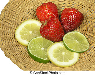 Sweet and Sour - Strawberries,lemons and limes on a straw...