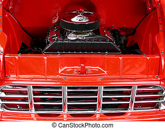 Big and Little Cars - Little toy truck on the engine of 1956...