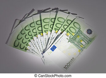 Spot - blower of hundred euro- bills with spot on it