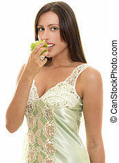 Snacking Healthy, woman with apple - Healthy food choices...