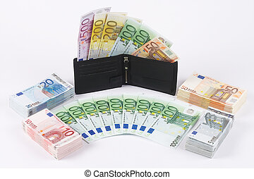 wallet with many banknotes