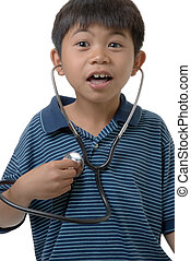 Hey I can\\\'t hear my heart - Young boy trying to listen to...