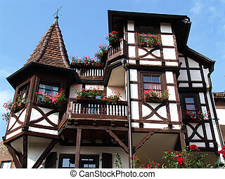half-timbered villa - old house with tower, bays and...
