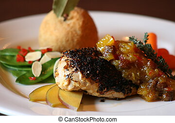 Blackened Chicken with a mango chutney