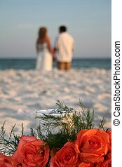 Married Couple - Married couple on beach after ceremony