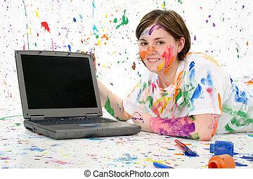 artístico, Adolescente, con, computador portatil