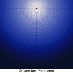 Polar grid of fine black lines on graduated white blue black...
