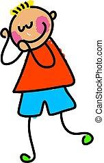 shy kid - little boy blushing - toddler art series