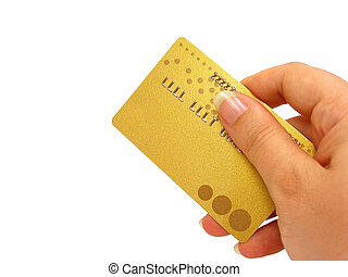 Hand holding credit card (clipping path included) - Female...