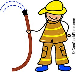 fireman kid - i want to be a firefighter when i grow up -...