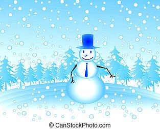 snow man - xmas tree and snow man