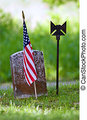 Tombstone with flag