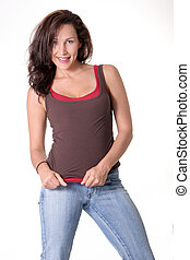 sexy woman wearing jeans - casual brunette wearing jeans