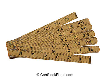 Hinged Ruler - Antique Hinged 6 Wooden Ruler