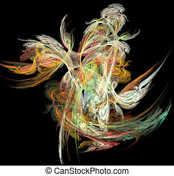 Flame fractal - Abstract artificial computer generated...