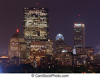 Rainy Night Boston Skyline 1 - full color image of Bostons...