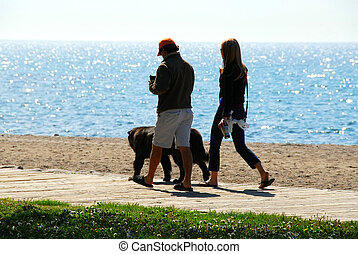 Morning walk - Couple talking a walk with their dog in the...