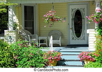 casa, pórtico, flores