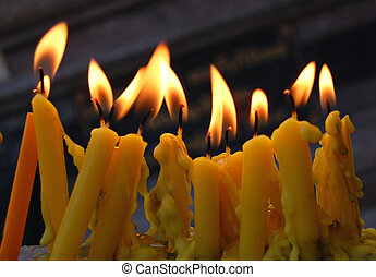 Temple candles - Candles at a Thai temple